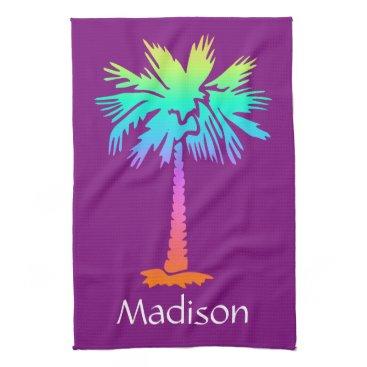 Beach Themed neon palm tree tropical summer purple customizable kitchen towel