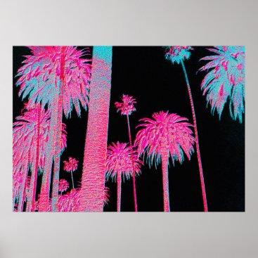 Beach Themed Neon Palm Trees Miami Beach Art deco art print