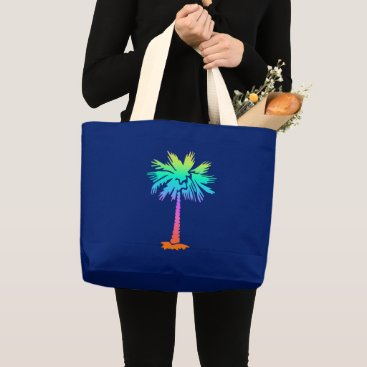 Beach Themed neon palm tropical summer bright colorful large tote bag
