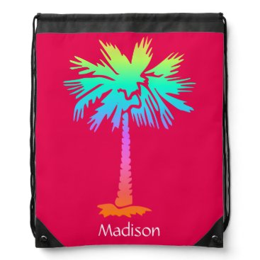 Beach Themed neon palm tropical summer bright colorful pink drawstring bag