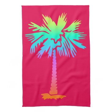 Beach Themed neon palm tropical summer bright colorful pink towel