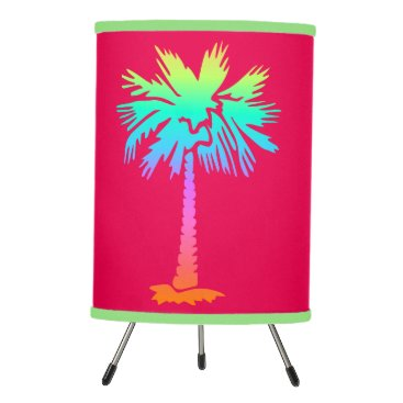 Beach Themed neon palm tropical summer bright colorful pink tripod lamp