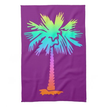 Beach Themed neon palm tropical summer bright colorful purple hand towel