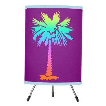 Beach Themed neon palm tropical summer bright colorful purple tripod lamp