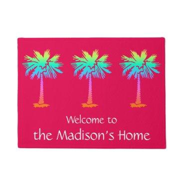 Beach Themed neon palm tropical summer bright pink customizable doormat