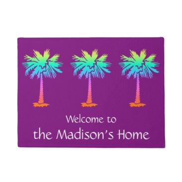Beach Themed neon palm tropical summer purple customizable doormat