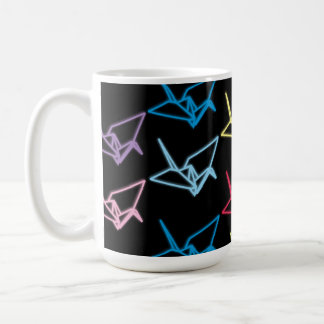Neon Paper Cranes Coffee Mug