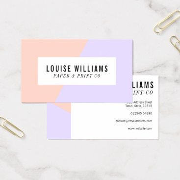 Professional Business Neon pastel lilac and peach business card