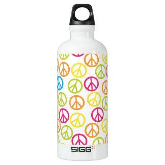 Neon Peace Signs Aluminum Water Bottle