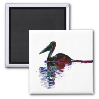 Neon Pelican reflections Magnet