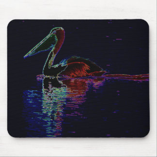 Neon Pelican reflections Mouse Pad