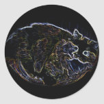 Neon Persian Cat Merchandise Round Stickers