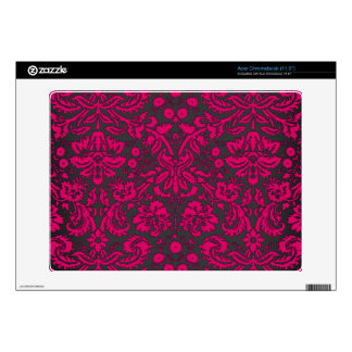 Neon Pink and Black Damask Acer Chromebook Skins