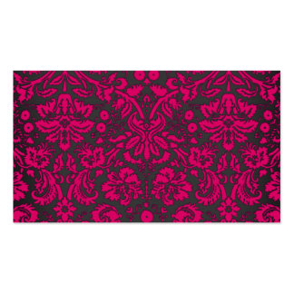 Neon Pink and Black Damask Business Card