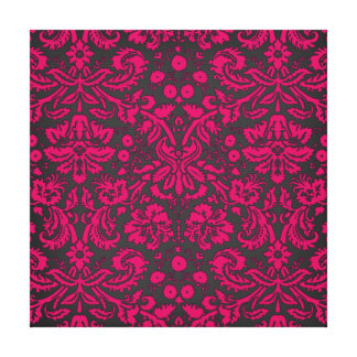 Neon Pink and Black Damask Stretched Canvas Print