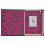 Neon Pink and Black Damask iPad Cases