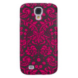Neon Pink and Black Damask Samsung Galaxy S4 Case