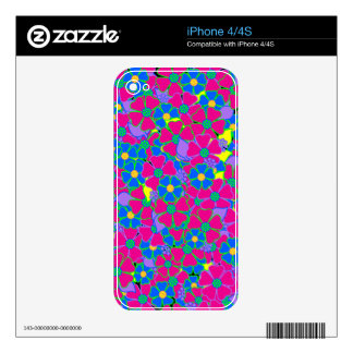 Neon Pink and Blue Garden Skin For The iPhone 4