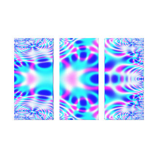 Neon Pink and Blue Rocket Abstract Canvas Print