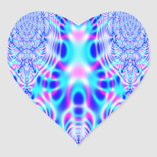 Neon Pink and Blue Rocket Abstract Heart Sticker