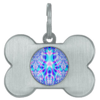 Neon Pink and Blue Rocket Abstract Pet Tag