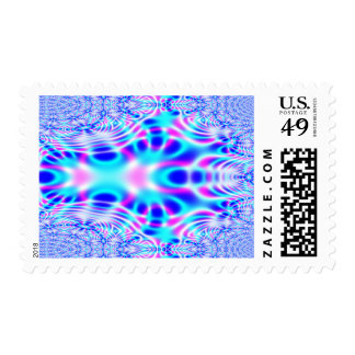 Neon Pink and Blue Rocket Abstract Postage Stamp