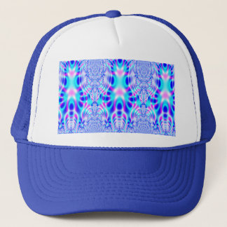 Neon Pink and Blue Rocket Abstract Trucker Hat