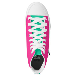 Neon Pink And Caribbean Green Printed Shoes