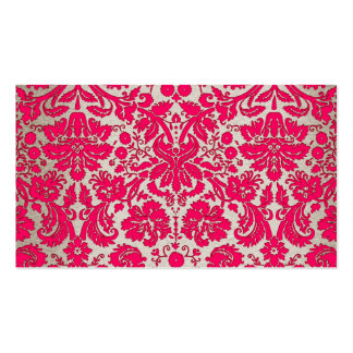 Neon Pink and Gold Damask Business Cards