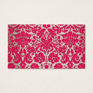 Neon Pink and Gold Damask Business Card
