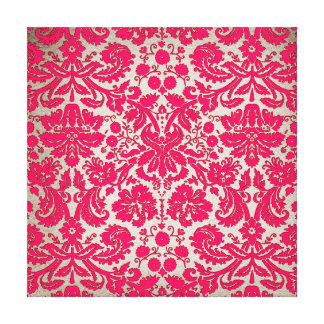 Neon Pink and Gold Damask Gallery Wrap Canvas