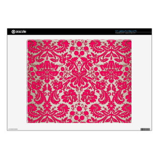 "Neon Pink and Gold Damask Decal For 14"" Laptop"