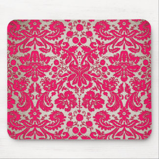 Neon Pink and Gold Damask Mouse Pad