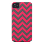 Neon Pink and Grey Chevron Pattern iPhone 4 Cover
