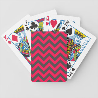 Neon Pink and Grey Chevron Pattern Card Deck