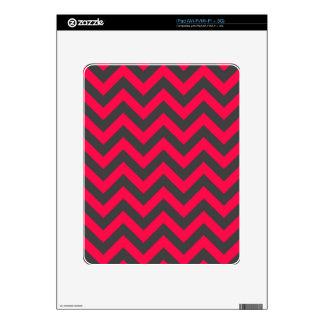 Neon Pink and Grey Chevron Pattern iPad Decals