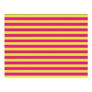 Neon Pink and Neon Green Stripes Postcard