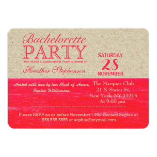 Neon Pink and Tan Paper, Tropical Palms and Beach 5x7 Paper Invitation Card