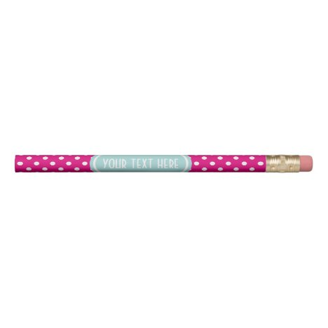 Neon pink and teal polka dots pencil with name