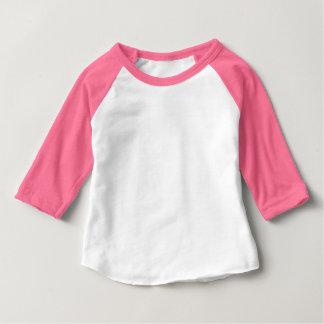 Neon Pink and White Baby 3/4 Sleeve Raglan Baby T-Shirt