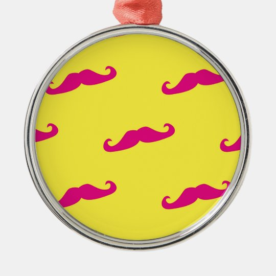 Neon pink and yellow mustache metal ornament