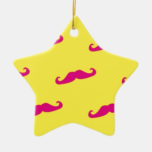 Neon pink and yellow mustache christmas tree ornaments