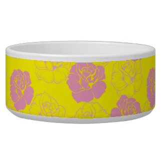 Neon pink and yellow vintage floral pattern bowl
