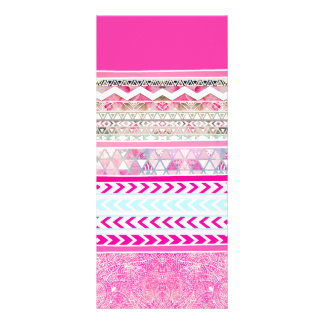 Neon pink Aztec patchwork floral paisley Full Color Rack Card