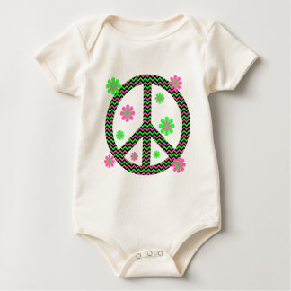 Neon Pink, Black and Green Chevron Stripes Baby Bodysuit