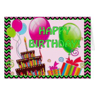 Neon Pink, Black and Green Chevron Stripes Card