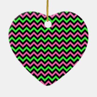 Neon Pink, Black and Green Chevron Stripes Ceramic Ornament