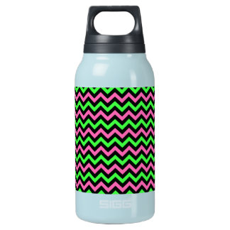 Neon Pink, Black and Green Chevron Stripes Insulated Water Bottle