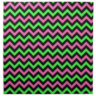 Neon Pink, Black and Green Chevron Stripes Napkin