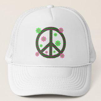 Neon Pink, Black and Green Chevron Stripes Trucker Hat